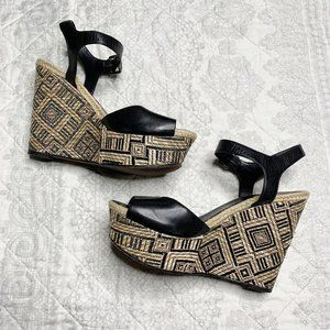 Vera Wang Boho Leather Ankle Strap Platform Wedges